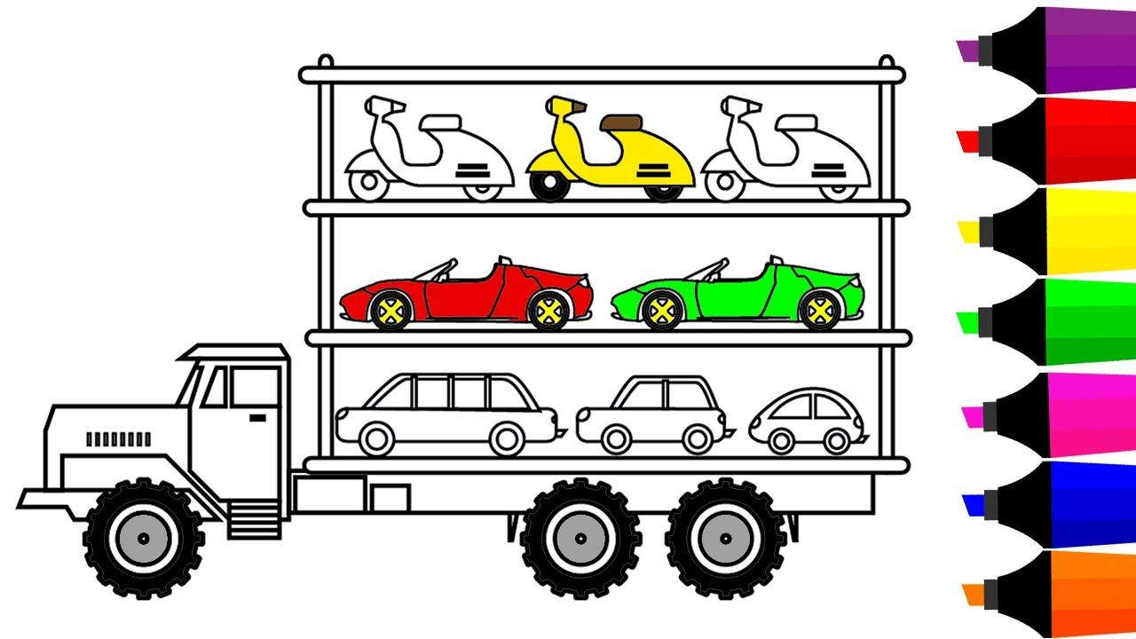 Learn Colors For Children With Car Carrier Truck Coloring Pages Vehicle Book Video