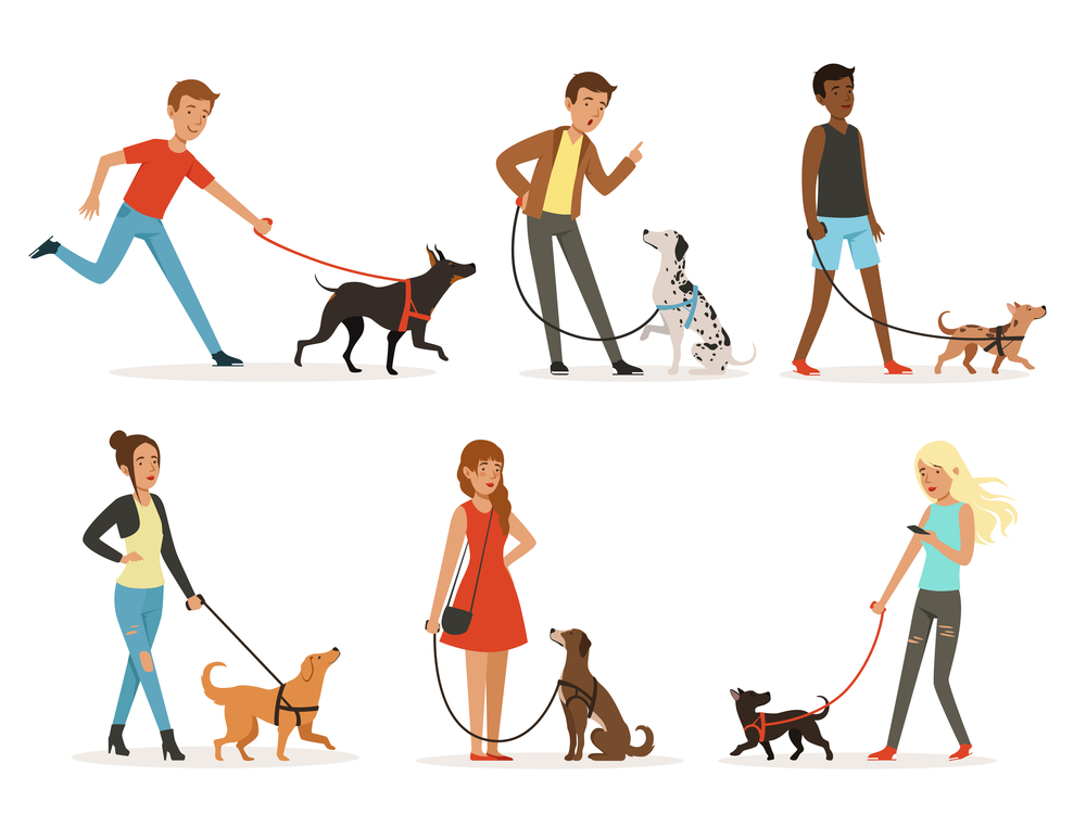 Animal Friendship Happy People Walking Funny Animals Friendship Funny Dogs Dog Illustration