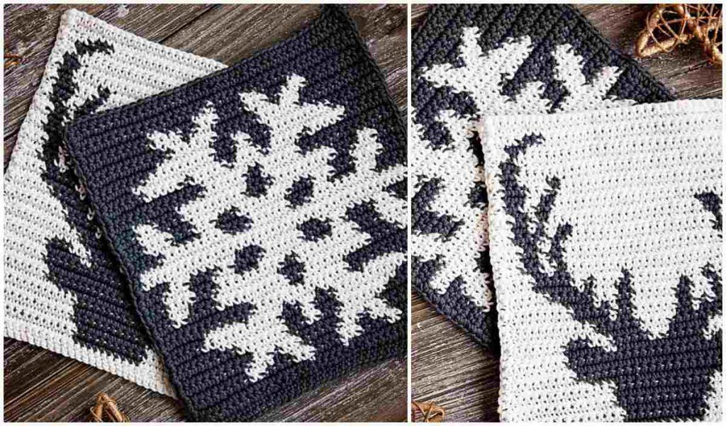 Winter Potholders Free Crochet Pattern #crochetpotholderpatterns
