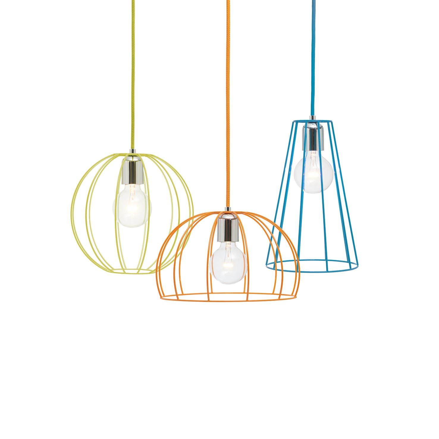 Wire-Lights: Ball yellow, Dome orange, Cone blue. Pendant with ...