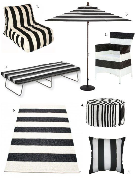 Simple As Black White Striped Outdoor Decor