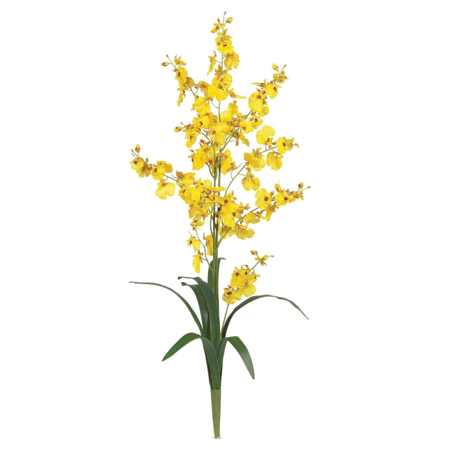 Yellow Dancing Lady Silk Orchid Flower 6 Stems Artificial Silk Flowers Silk Orchids Artificial Flowers