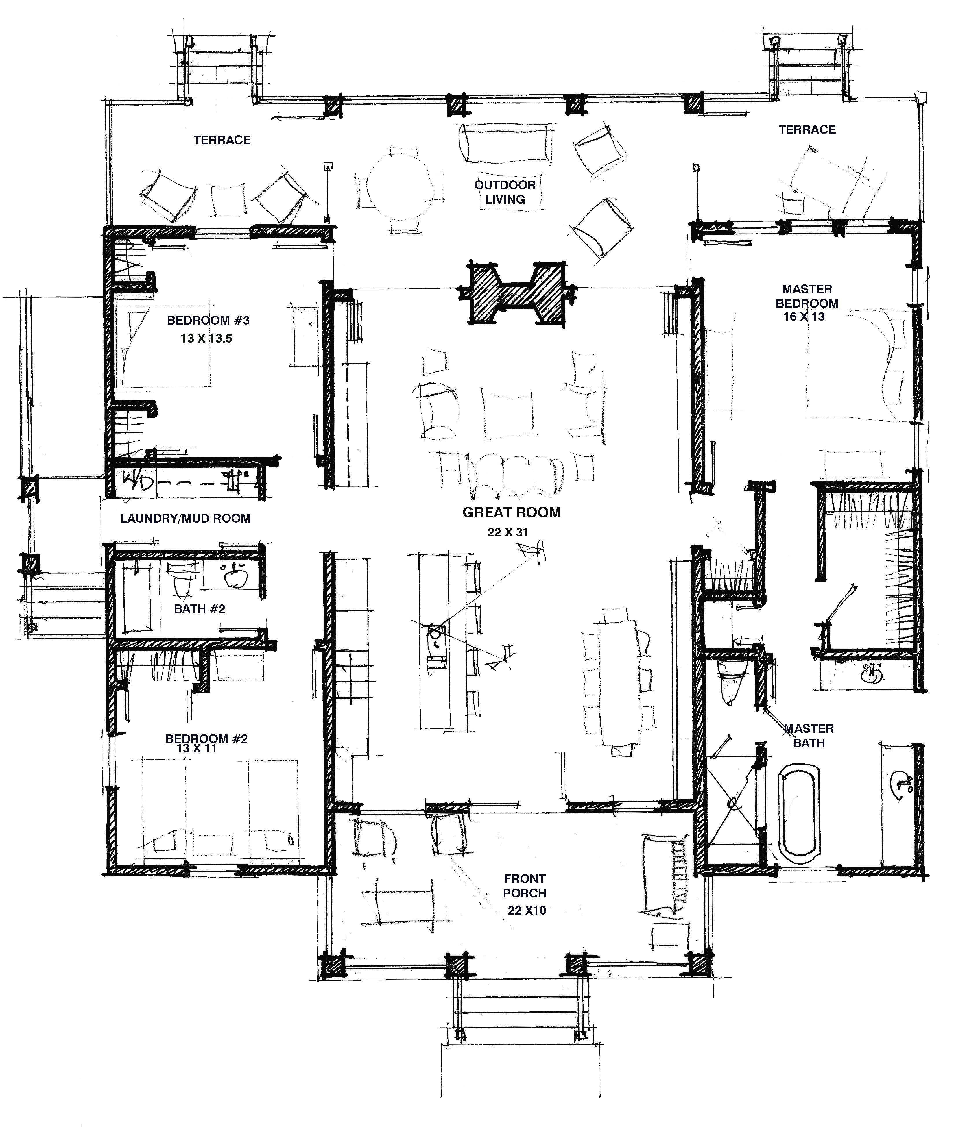 Modern dog trot house plans Dogtrot house plan
