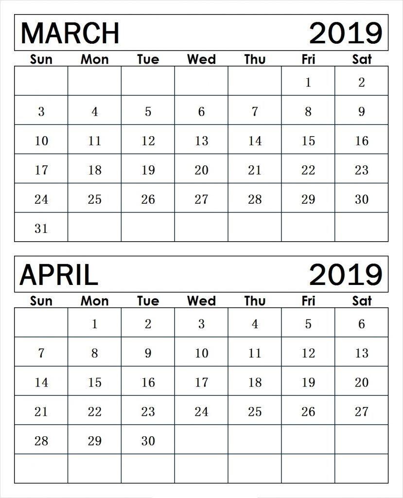 March April 2019 Printable Calendar
