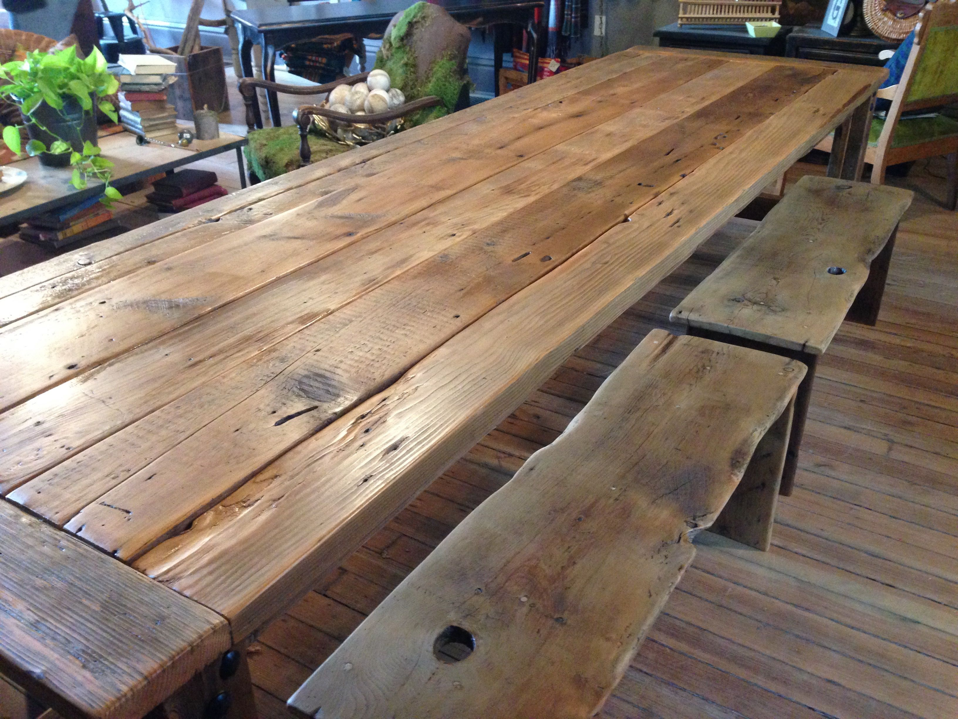 Handmade Table And Benches Made From Vintage Iowa Barn Wood.