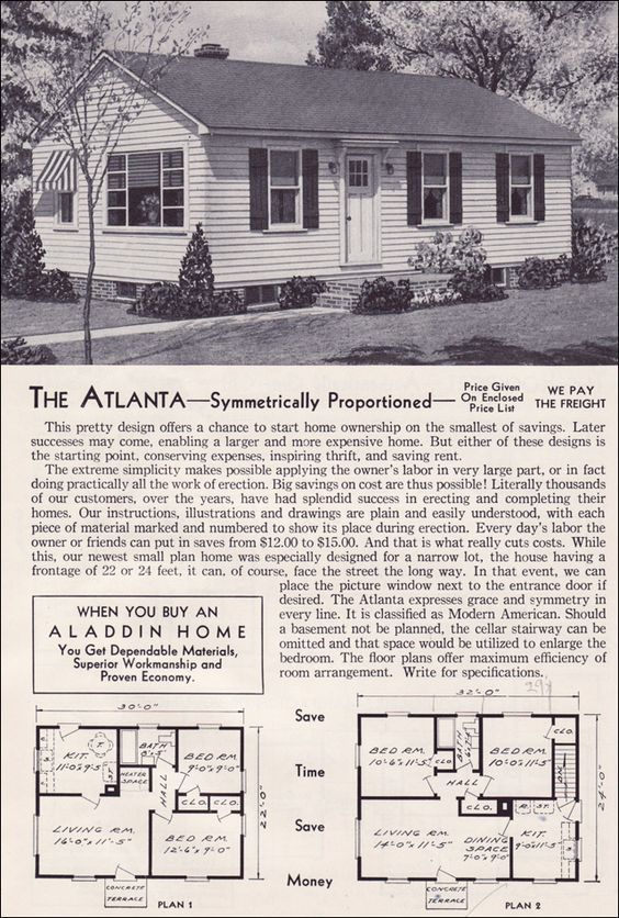 1951 Aladdin Kit Houses The Atlanta Vintage House Plans House Plans With Pictures House Floor Plans