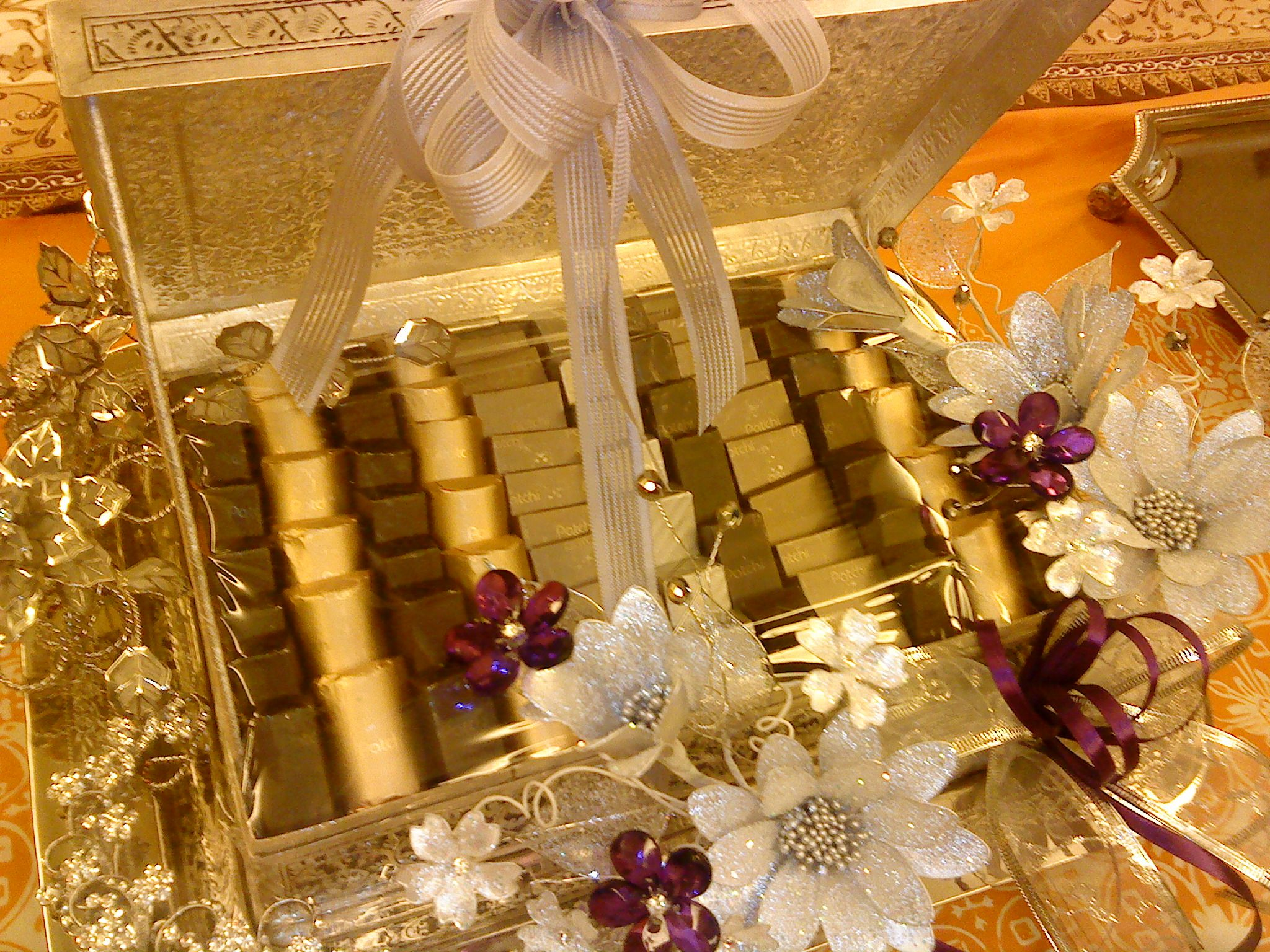 Gold tray | Chocolate tray | Pinterest | Trousseau packing ...