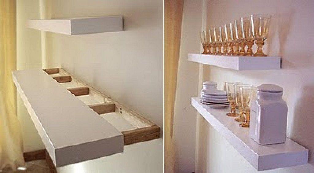 Instalar baldas flotantes para ganar espacio de almacenaje Home - estantes para cocina