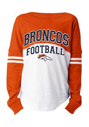 super popular 33480 0ab74 Denver Broncos Girls White Varsity Long Sleeve T-shirt | NFL ...