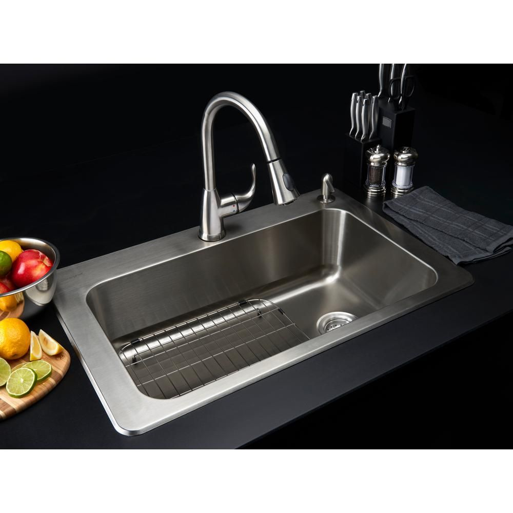 glacier bay all in one drop in stainless steel 33 in 2 hole single basin kitchen sink - Glacier Bay Kitchen Sink