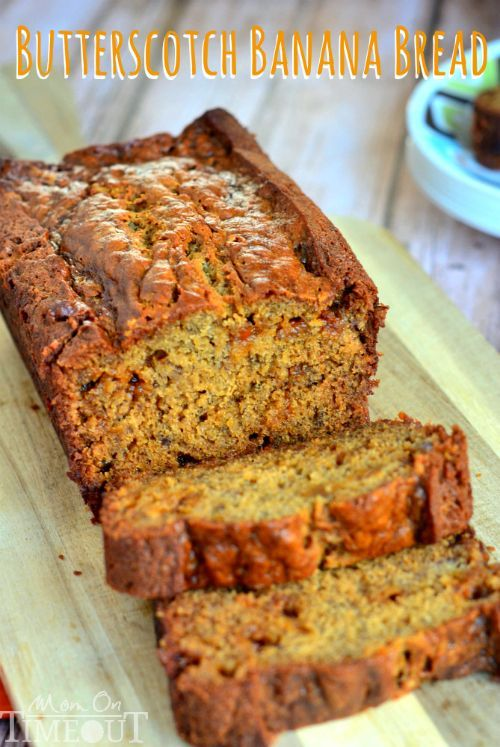 Butterscotch Banana Bread is incredibly moist and delicious – definitely one recipe you NEED to try! |  @Trish - Mom On Timeout