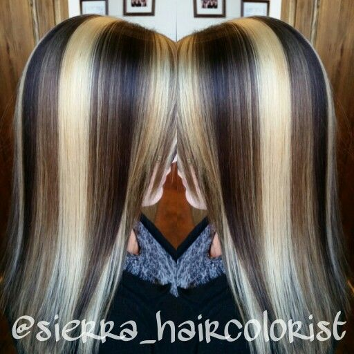 Fun hair color. Highlight /lowlights . Lanza color. Chunky ...