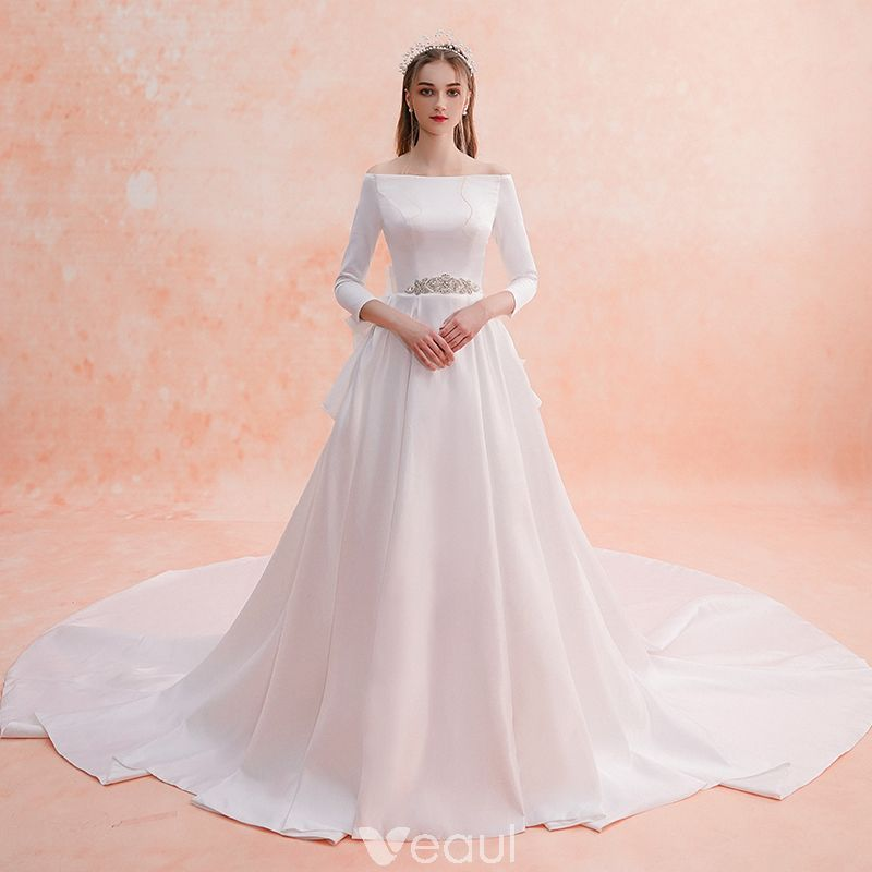 Elegant ivory wedding dresses 2019 aline princess off