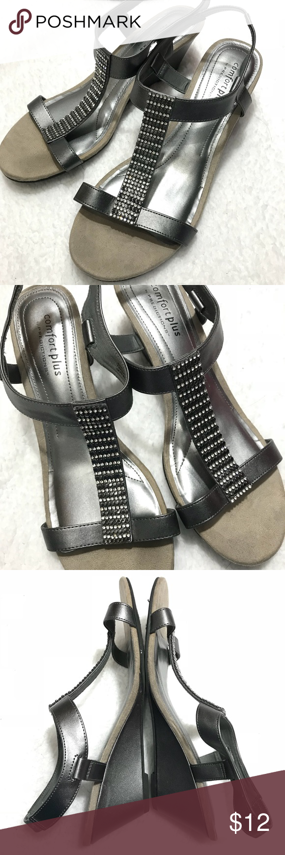 Comfort Plus By Predictions Wedge Sandals Size 11w Wedge Sandals Sandals Heels