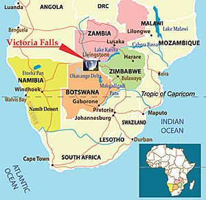 Victoria Falls Map Africa where is Victoria Falls on a map