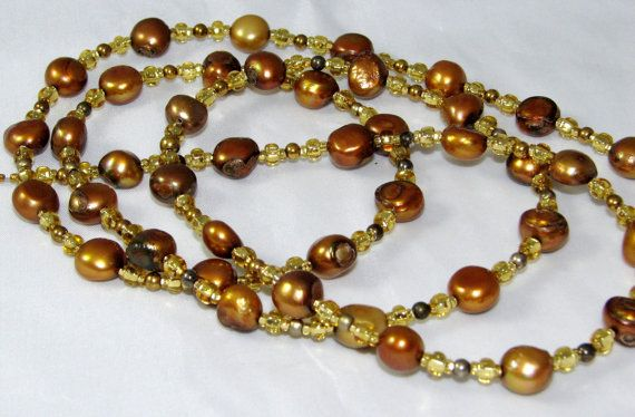 Golden Copper Freshwater Pearl Beaded Eyeglass Necklace by nonie615 on Etsy, $38.00 I can convert to a key or id badge lanyard.