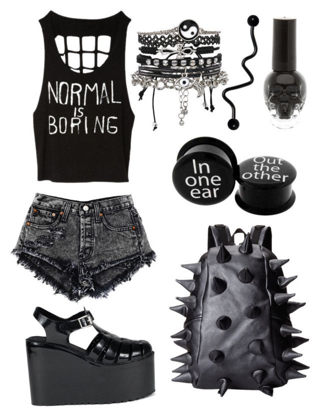 """""""Nu goth summer"""" by bells-dont-ring ❤ liked on Polyvore featuring UNIF, MadPax and ASOS"""