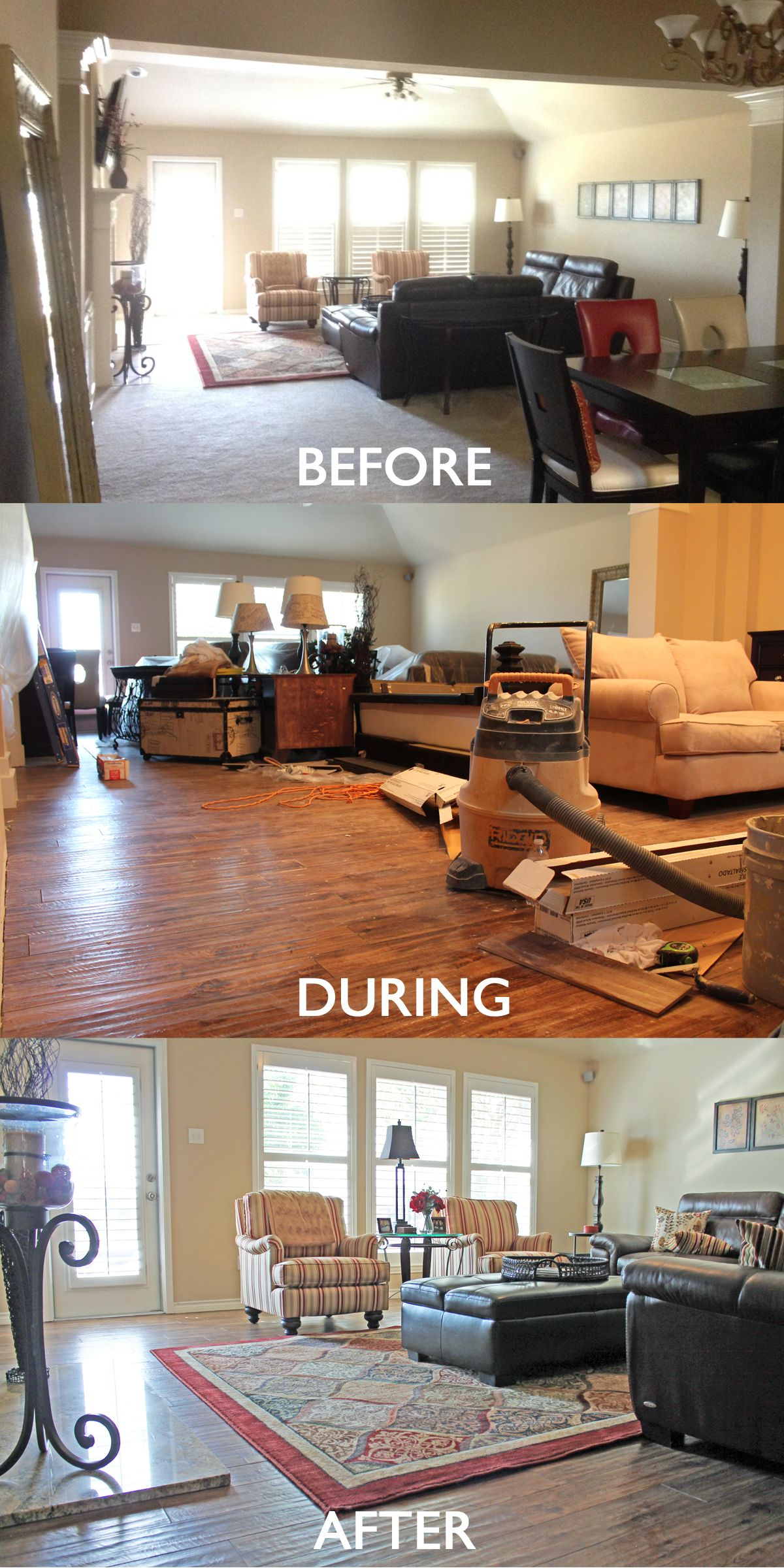 Living Room Remodel Before And After From Carpet To Wood Look Tile Floors Living Room Remodel Room Remodeling Elegant Living Room