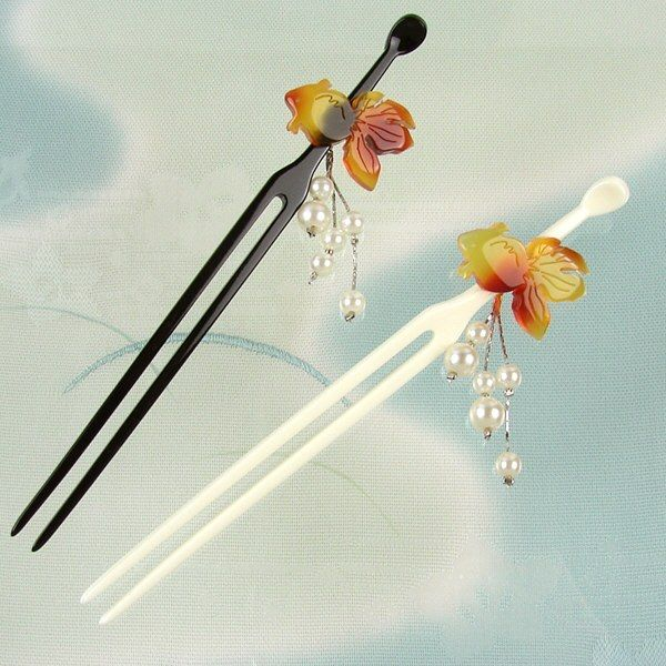 Rakuten: The impossible stick ornamental hairpin (ornamental hairpin) tortoise shell style goldfish black / white coming-of-age ceremony wedding ceremony hair ornament graduation ceremony party Seven-Five-Three Festival is in Japanese dress- Shopping Japanese products from Japan