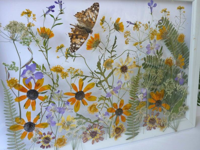 Kunst gepresste Blumen Blumendekor Hochzeitsgeschenk Getrocknet | Etsy  The post…
