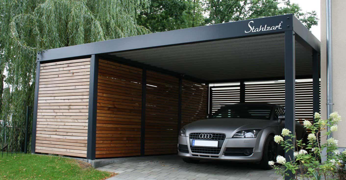 Metall Carport Stuttgart· Stahlcarport · Design · Holz