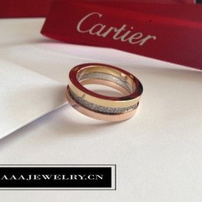 2016 Replica Cartier Three Gold Wedding Band Diamonds Ring