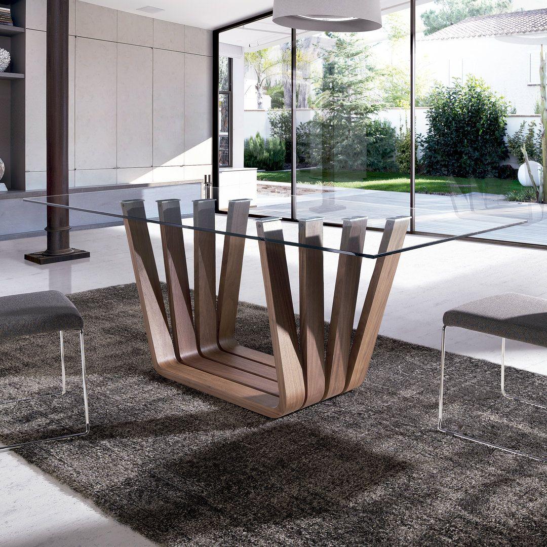 Mesa de comedor moderna vicenza glass for Mesas de comedor de madera de diseno