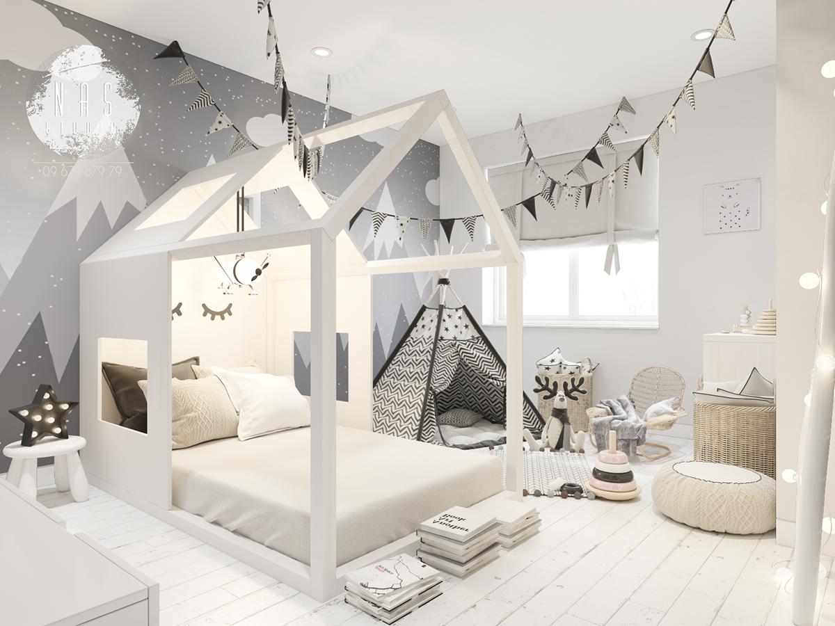 Children S Room Scandinavian Style On Behance Cool Kids Rooms Scandinavian Kids Rooms Toddler Rooms