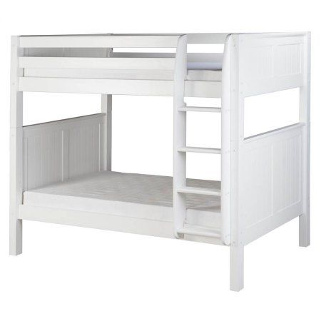 Eco-Friendly Bunk Bed with Panel Headboard in White Finish