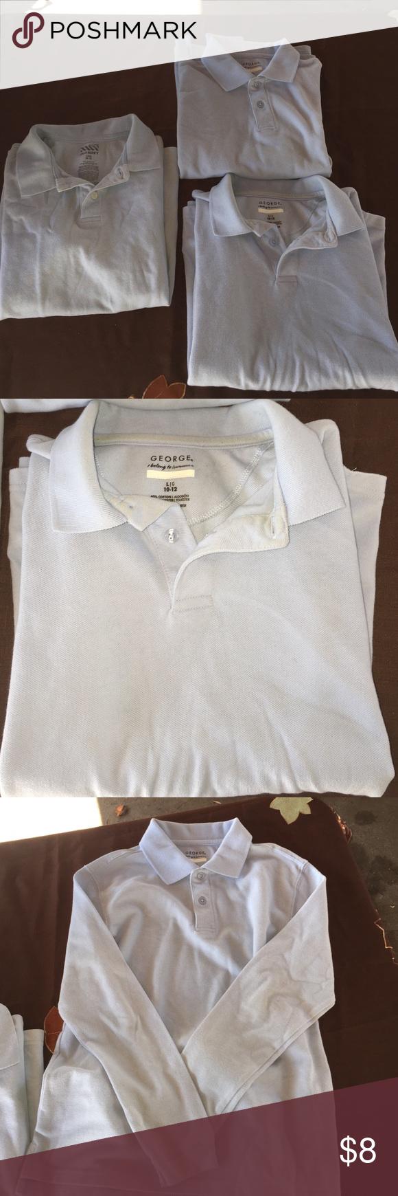 3 Pc Boys Sz 10/12 polo shirt 2 long slv & 1 short Pc Boys Sz 10/12 polo shirt 2 long slv & 1 short Baby Blue Bundle Shirts & Tops Polos
