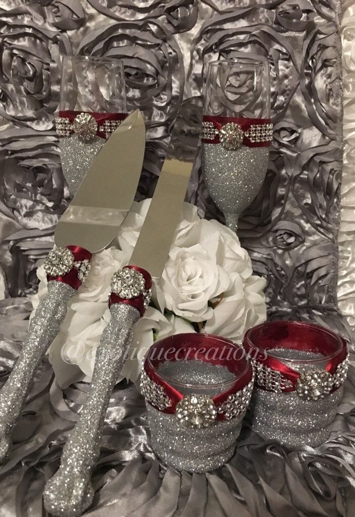 Wedding Toasting Flutes And Cake Server Sets Silver And