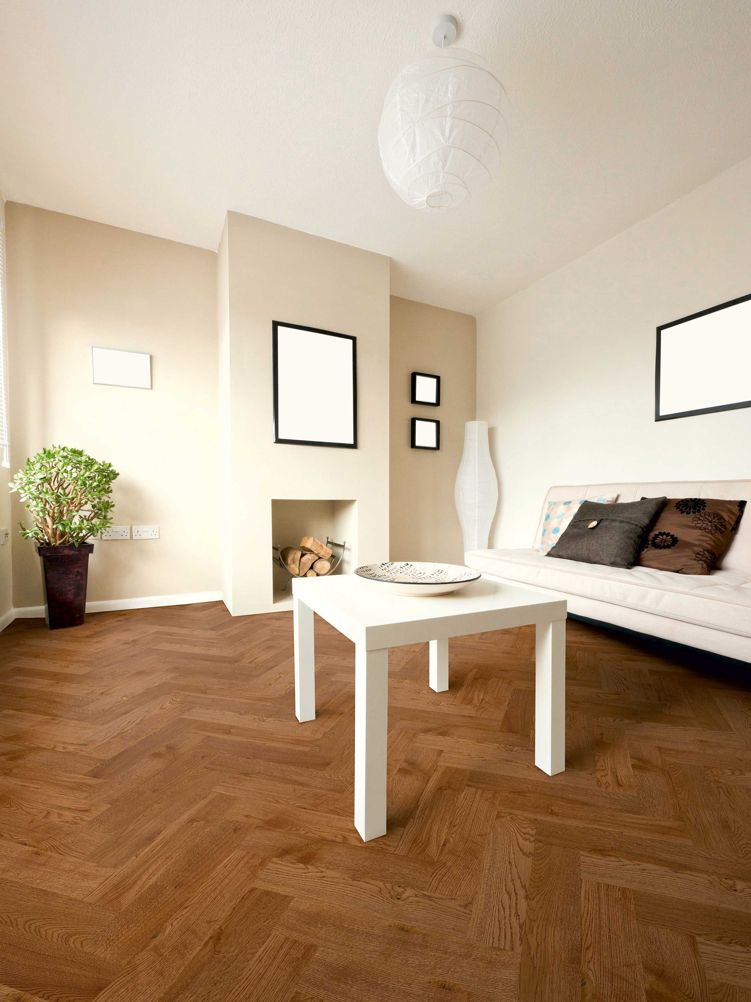 Goodrich Coffee Oak Wood parquet flooring, Herringbone