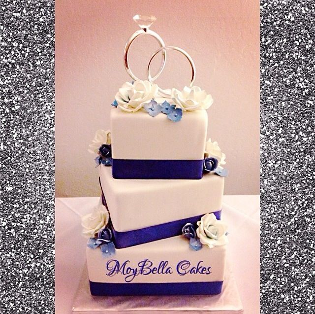 Wedding Cake Ideas Royal Blue: Royal Blue Square Wedding Cake