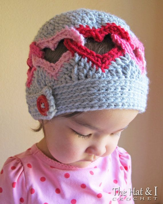 Crochet Hat PATTERN - Be Mine - crochet pattern for heart hat ...