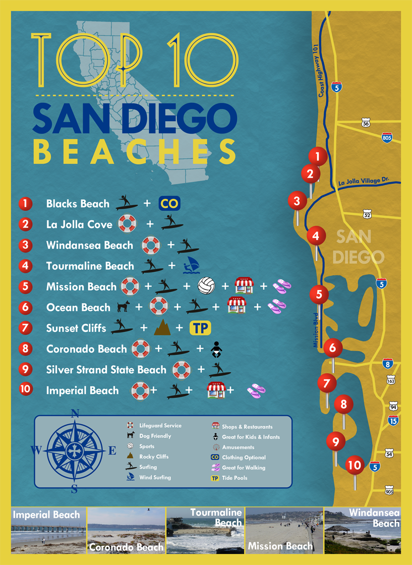 San Diego Beaches Map Top 10 San Diego Beaches #sandiego #beaches | Christmas in SO CAL