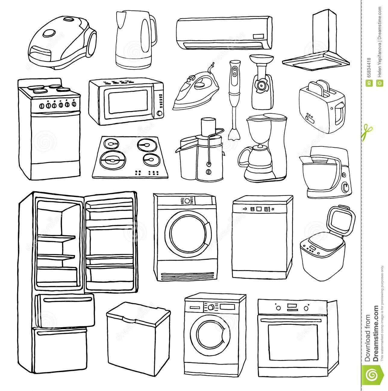 Afbeeldingsresultaat Voor Home Appliance And Furniture Doodle