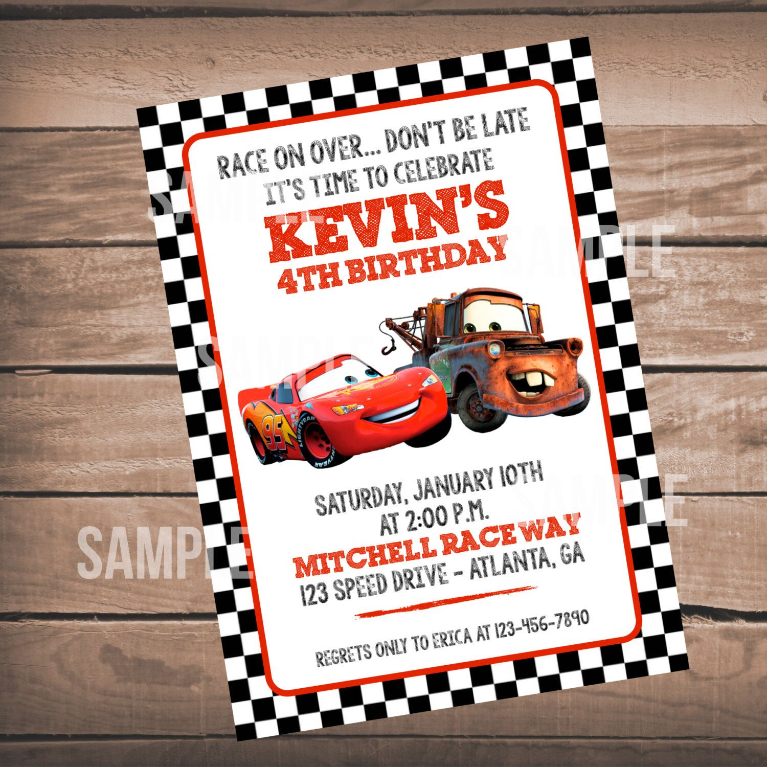 Disney Cars Invitation Cars Birthday Party Invitation Disney – Printable Cars Birthday Invitations