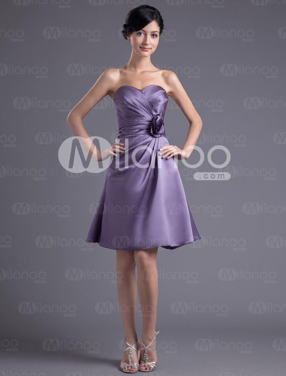 Robe demoiselle d\'honneur A-ligne lilas en satin cache-coeur ...