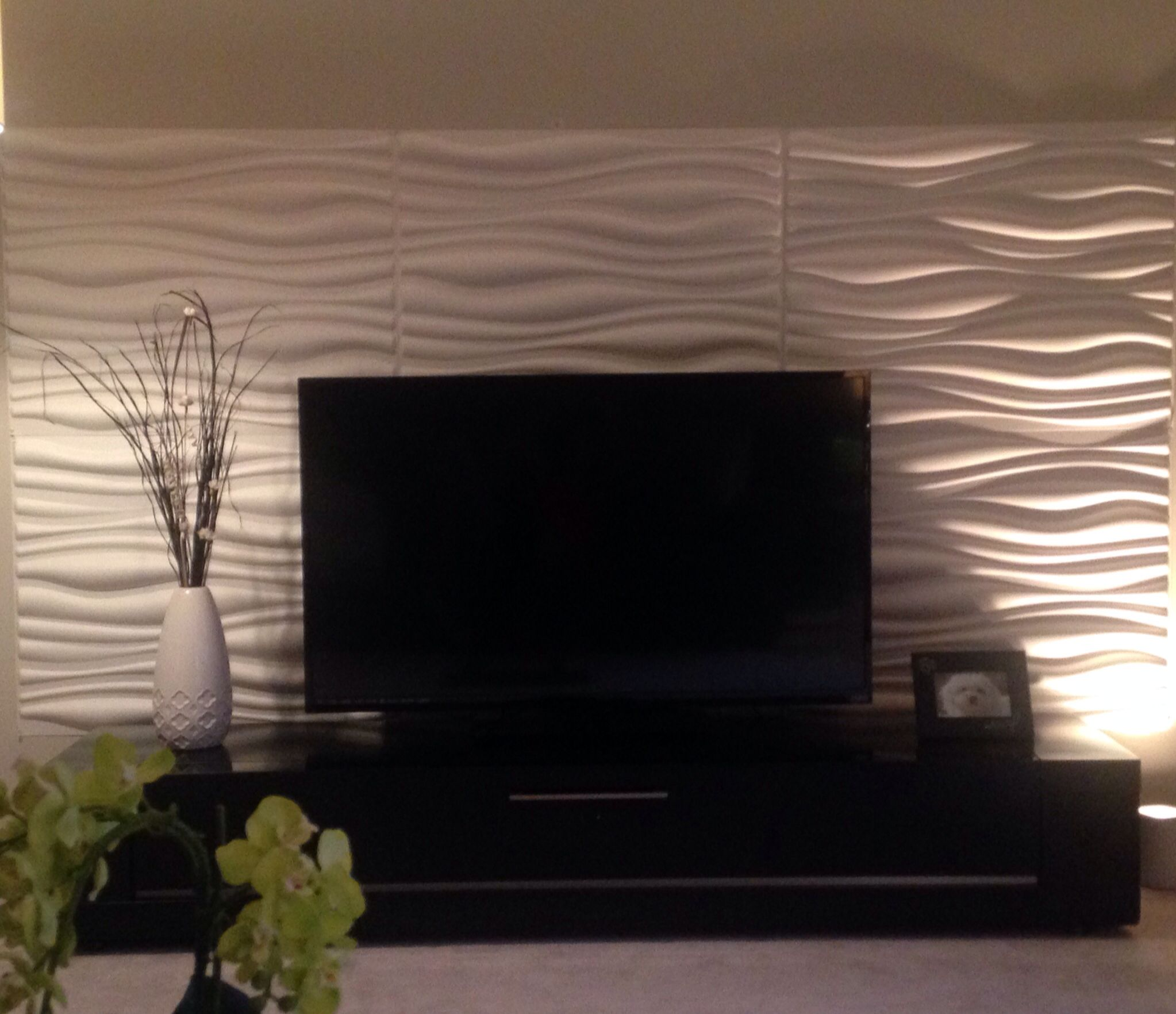 Modern living room 3d wall panels b modern tv unit for 3d feature wallpaper