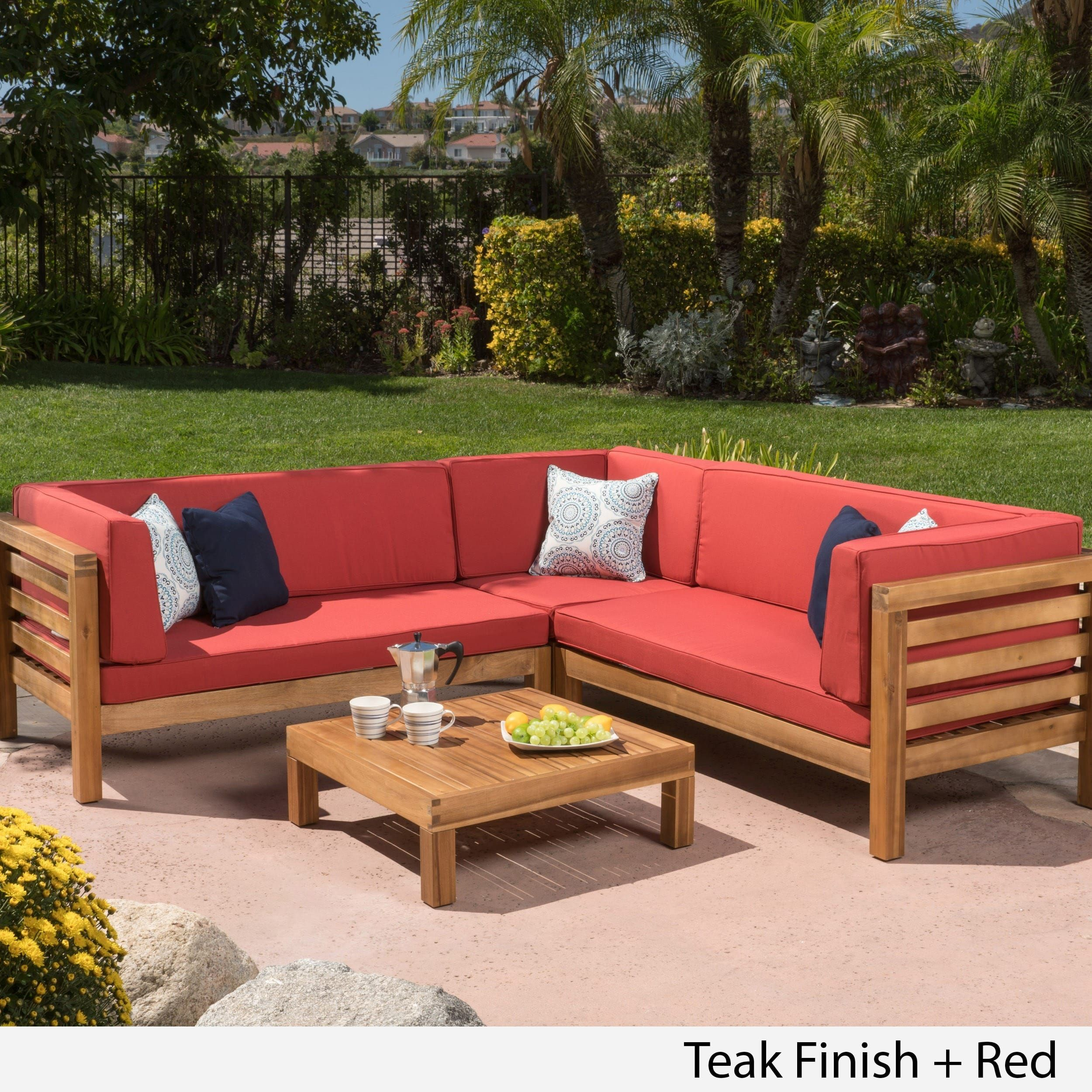 Oana Outdoor 4 Piece Acacia Wood Sectional Sofa Set With Cushions By