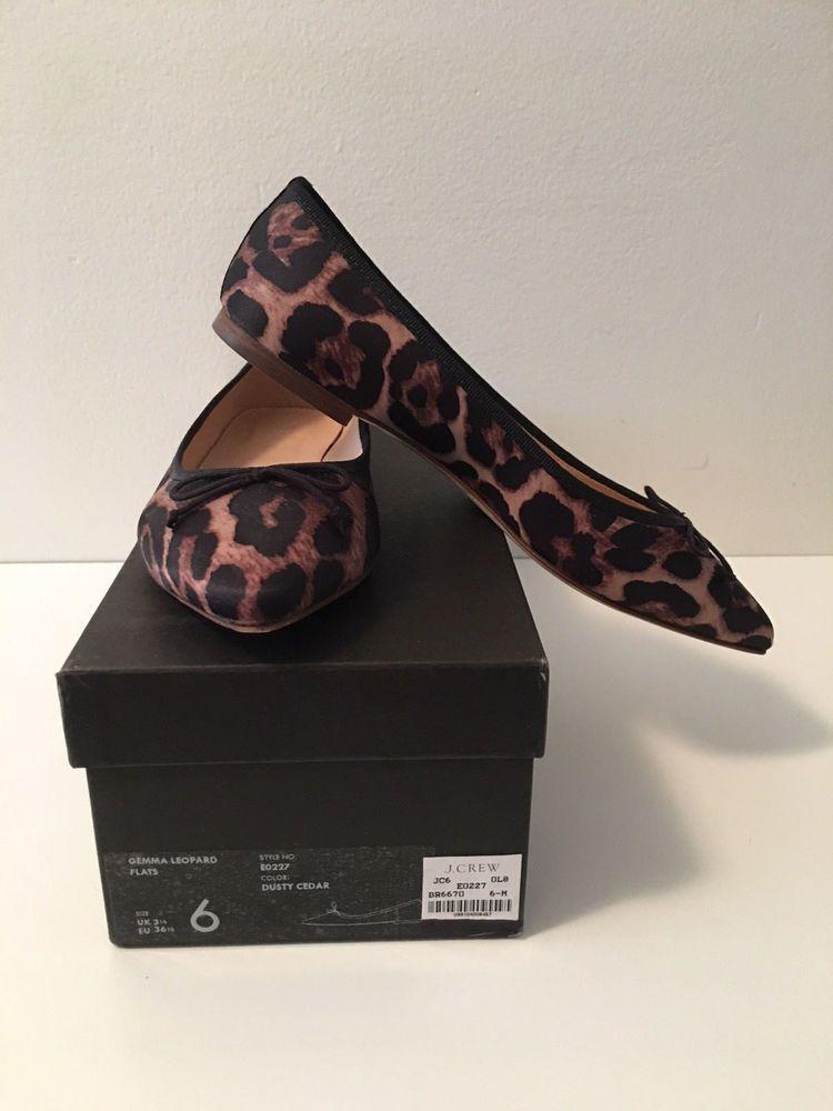 7e6dc25f3633 NIB J Crew Gemma Point Toe Ballet Flats Leopard Fabric sz 6 E0227 Dusty  Cedar #