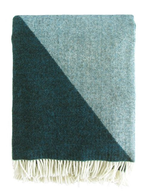 Focus On Twill Wool Blanket In Petrol By Tina Ratzer Wolldecke
