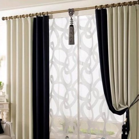 Elegant Black And White Eco Friendly Living Room Curtains White