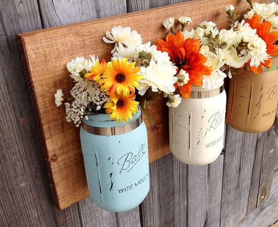 Set of 3 Quart Size Mason Jars Wall Hanging. by Kateslittleshop