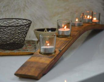 Wine Barrel Stave Candle Holder With