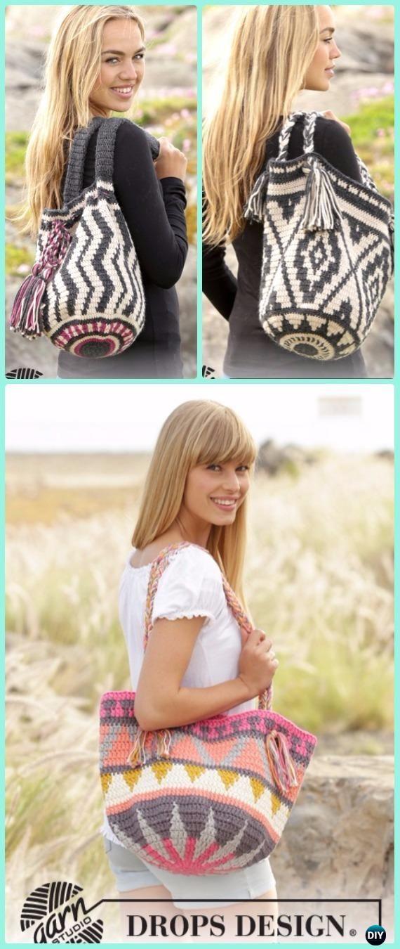 Tapestry Crochet Drops Bag Free Pattern -Tapestry Crochet Free Patterns