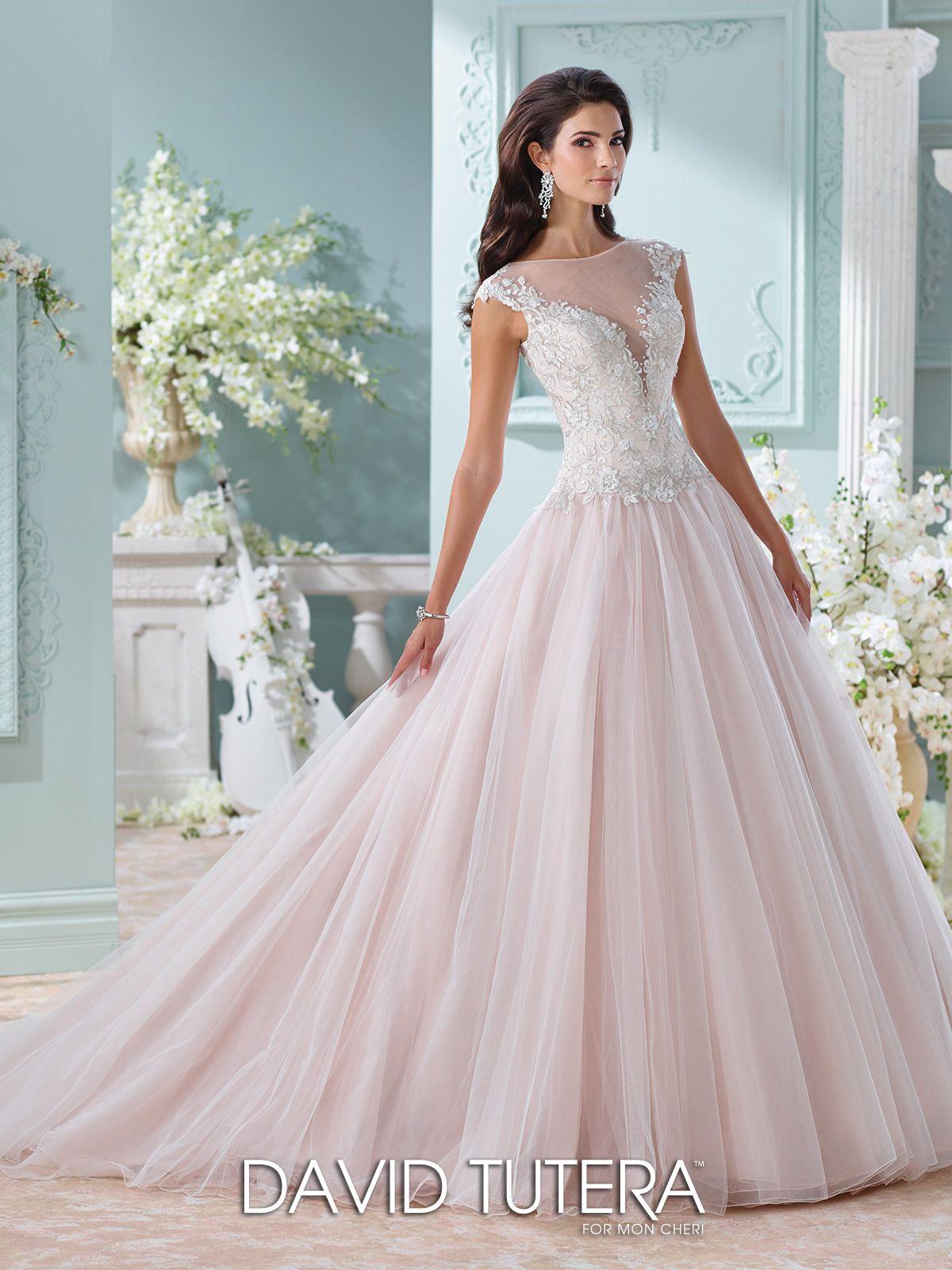 Handbeaded illusion neckline with lace wedding dress idalia