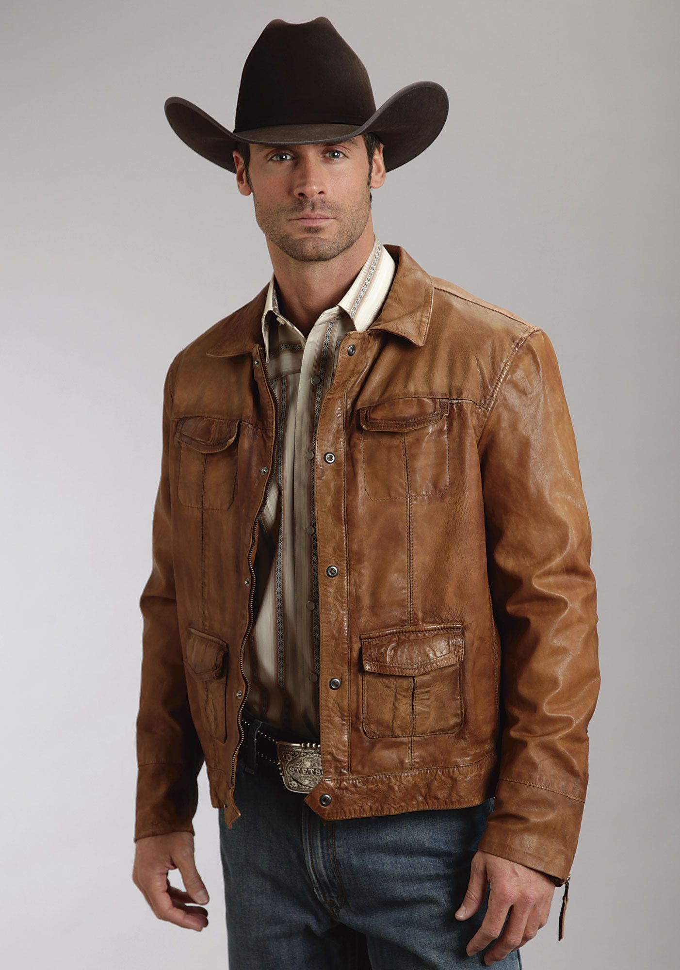 For High Quality Traditional Western Apparel With Lasting Style Look No Further Than Stetson This Cowboy Outfit For Men Mens Fashion Rugged Leather Jacket [ 2000 x 1402 Pixel ]