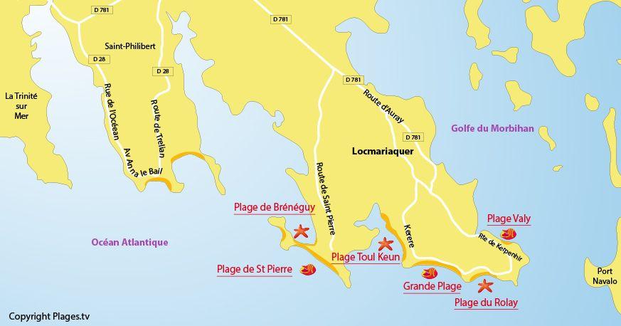 Carte Des Plages De Locmariaquer Dans Le Morbihan Locmariaquer