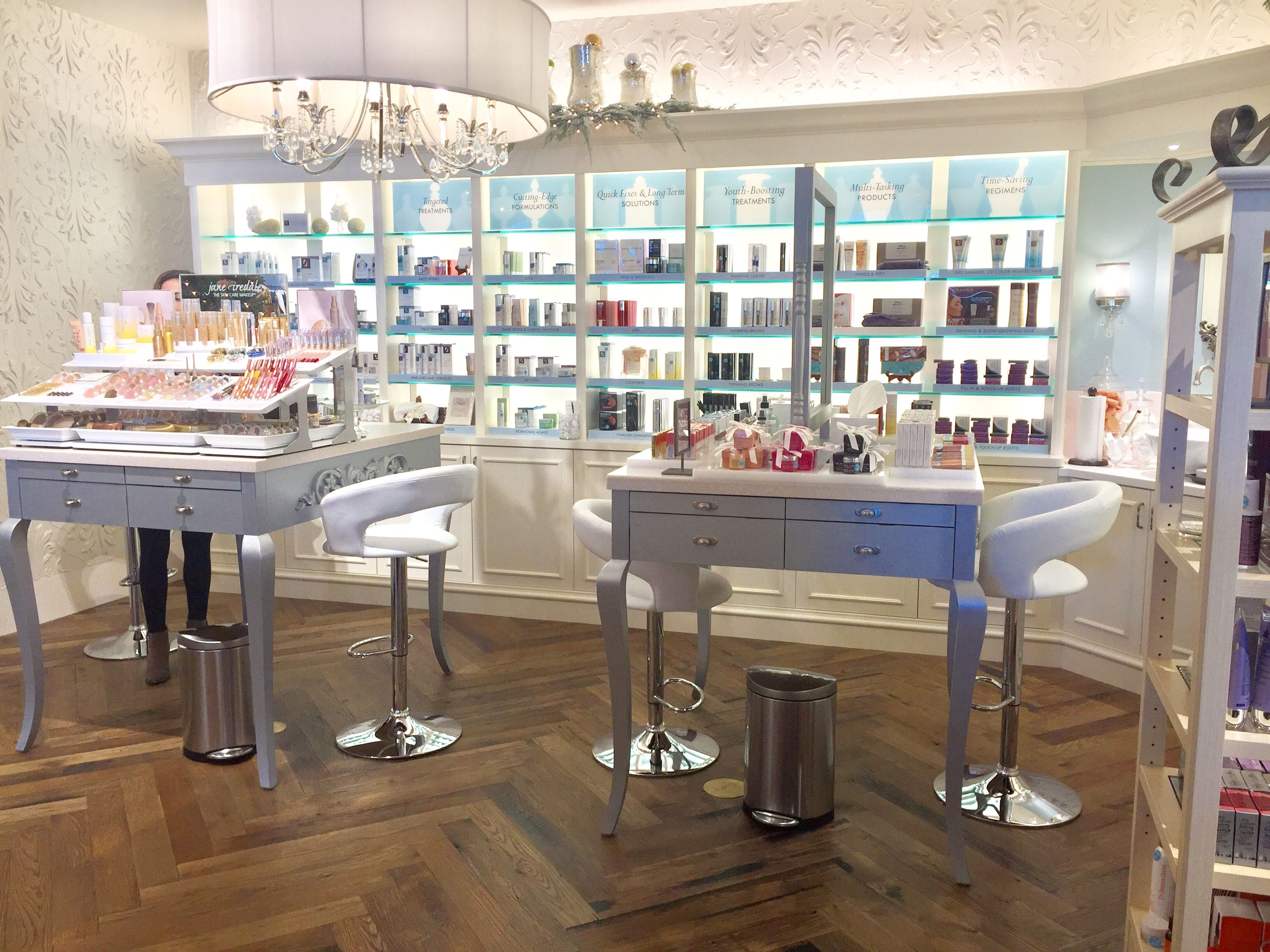 The lovely brand-new beauty area of our new store location at Preston Park Village in Plano, TX.